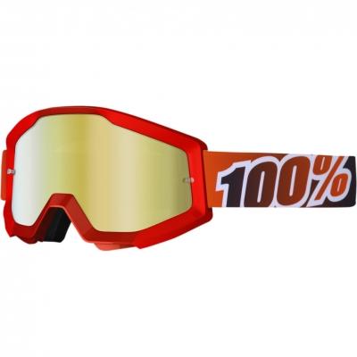 Okuliare 100% Strata fire red - zrkadlové sklo červené