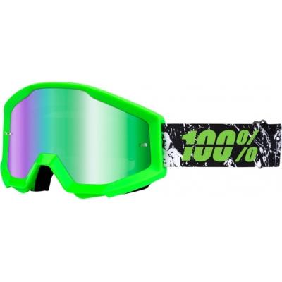 Okuliare 100% Strata crafty lime - zrkadlové sklo zelené