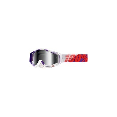 Okuliare 100% Racecraft purple main - zrkadlové sklo strieborné