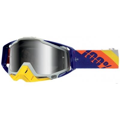 Okuliare 100% Racecraft slant blue - zrkadlové sklo strieborné