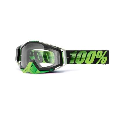 Okuliare 100% Racecraft metal/lime - číre