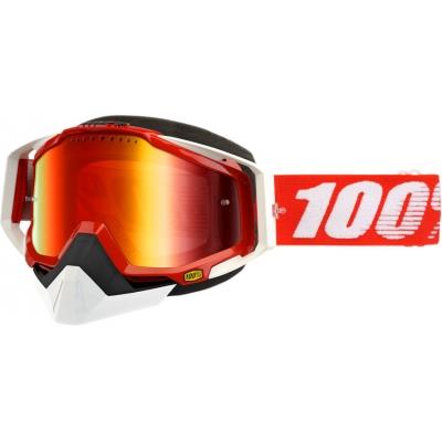 Okuliare 100% Racecraft red snow - zrkadlové sklo červené