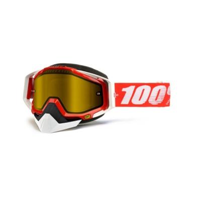 Okuliare 100% Racecraft red snow - žlté sklo
