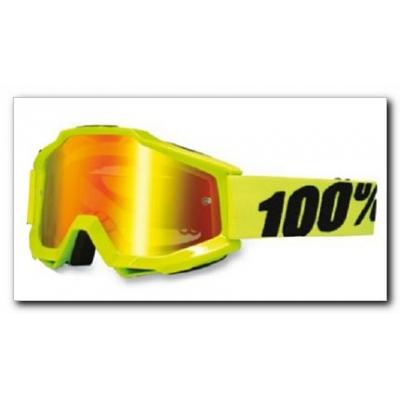 Okuliare 100% Accuri fluo yellow - zrkadlové sklo červené