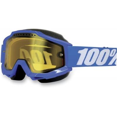 Okuliare 100% Accuri blue snow - žlté sklo číre
