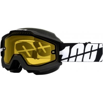 Okuliare 100% Accuri black snow - žlté sklo číre