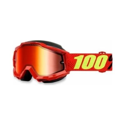 Okuliare 100% Accuri red snow - zrkadlové sklo červené