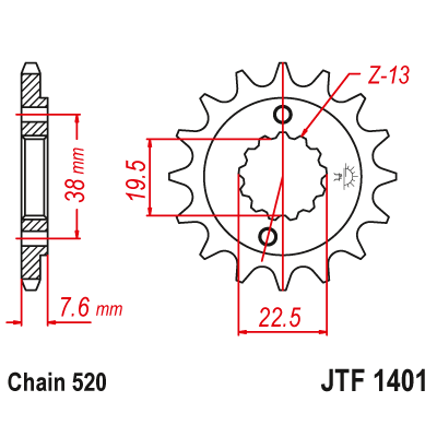 Kolečko JT sprockets JTF1401 13z.