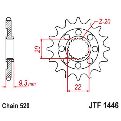 Kolečko JT sprockets JTF1446SC 14z.