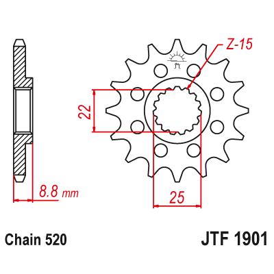 Kolečko JT sprockets JTF1901SC 15z.