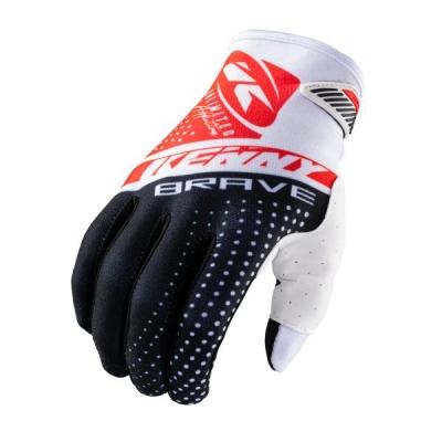 Detské rukavice KENNY BRAVE 2021, čierno-bielo-červené