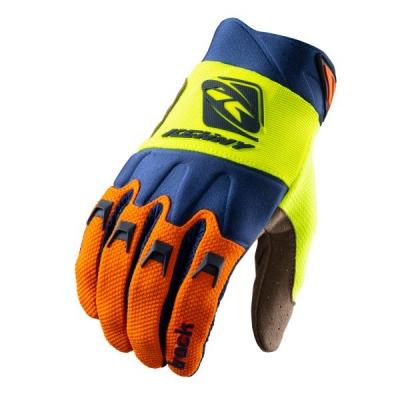 Detské rukavice KENNY TRACK 2021, modro-oranžovo-žlto neónové