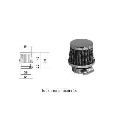 Tuningový vzduchový filter Ø38 , 98FR07