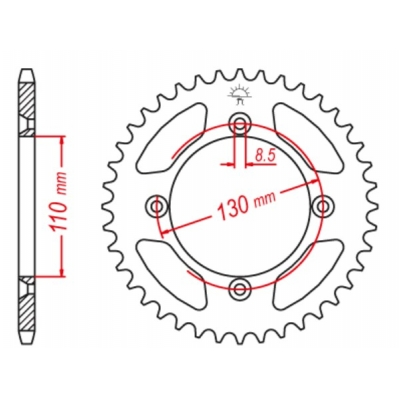 Rozeta hliníková M-Cax 53z. - Honda CR/CRF/80/85/150 - rovnaká ako JTR215