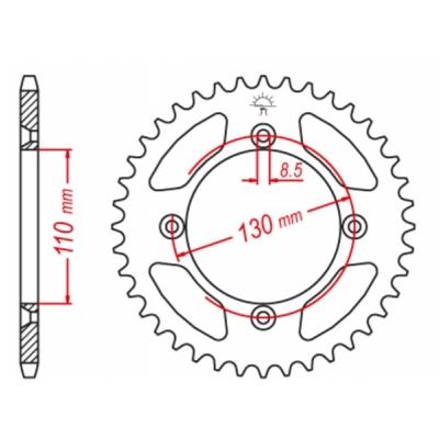 Rozeta hliníková M-Cax 55z. - Honda CR/CRF/80/85/150 - rovnaká ako JTR215
