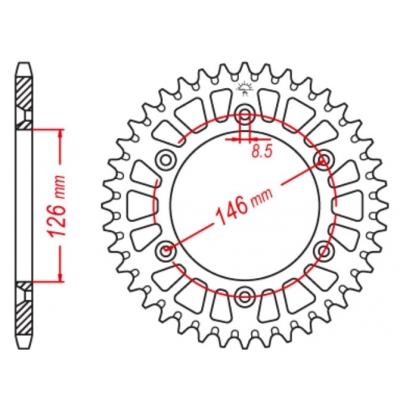 Rozeta hliníková M-Cax 50z. - Suzuki RM/RMZ/RMX - rovnaká ako JTA808