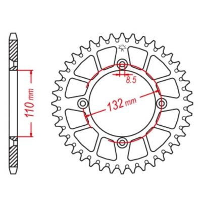 Rozeta hliníková M-Cax 48z. oranžová - KTM SX80/85 - kompat. s JTA895