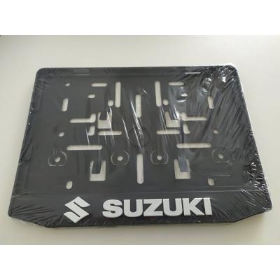 Podložka pod ŠPZ moto - 3D Suzuki, chróm