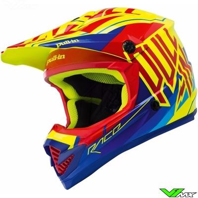 Prilba PULL IN červeno-žlto-modrá, na motorku