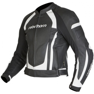 Kožená bunda Rebelhorn Piston II čierno-biela, na motorku