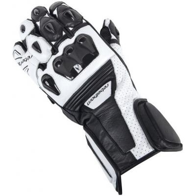 Kožené rukavice Rebelhorn Blaze čierno-biele, na motorku