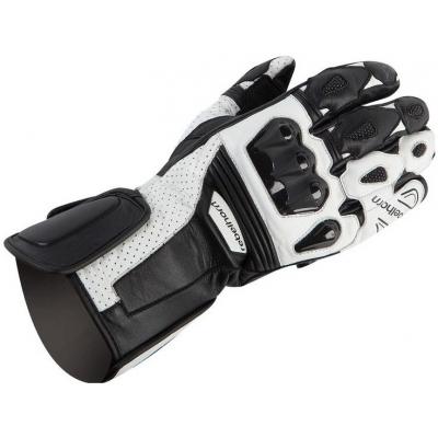 Kožené rukavice Rebelhorn Blaze PRO čierno-biele, na motorku