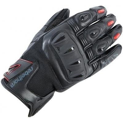 Kožené rukavice Rebelhorn Flux PRO čierno-červené, na motorku