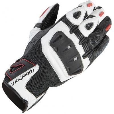 Kožené rukavice Rebelhorn Flux PRO čierno-bielo-červené, na motorku