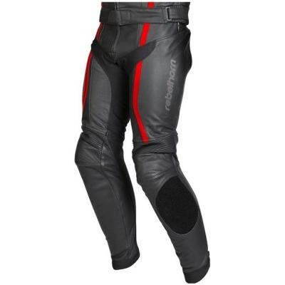 Kožené nohavice Rebelhorn Stroke II čierno-neónovočervené, na motorku