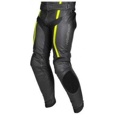 Kožené nohavice Rebelhorn Stroke II čierno-neónovožlté, na motorku