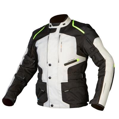 Textílná bunda Rebelhorn Hiker čierno-sivo-neonovožltá, na motorku