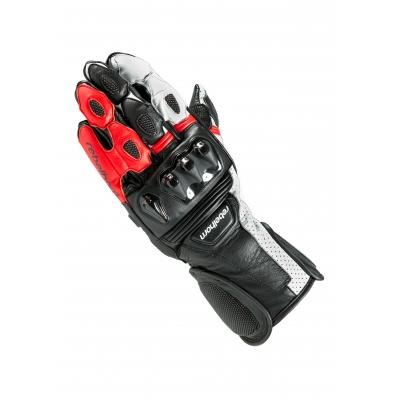 Kožené rukavice Rebelhorn Blaze PRO čierno-bielo-červene, na motorku