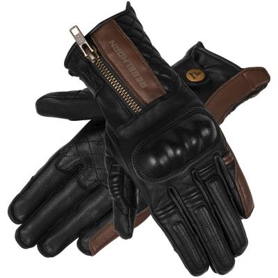 Dámske kožené rukavice REBELHORN HUNTER VINTAGE, čierno-hnedé