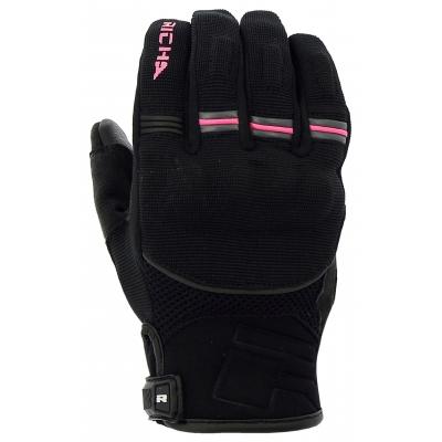 Dámske rukavice Richa Scope, čierne s ružovou fluo