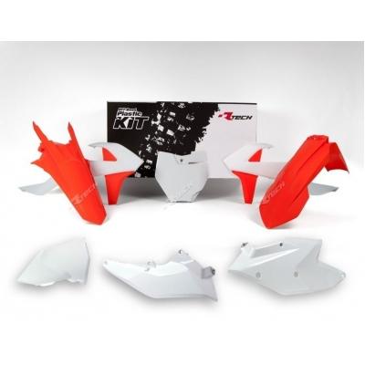 Sada plastov RTech - biela, oranžová KTM