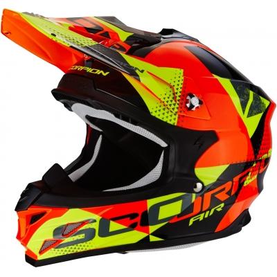 Prilba Scorpion VX-15 EVO Akra čierno-oranžovo-žltá, na motorku