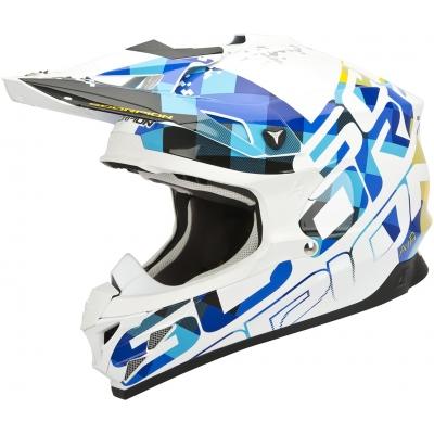 Prilba Scorpion VX-15 EVO Grid bielo-modrá, na motorku