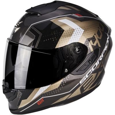 Prilba Scorpion EXO-1400 AIR Trika čierno-zlatá, na motorku