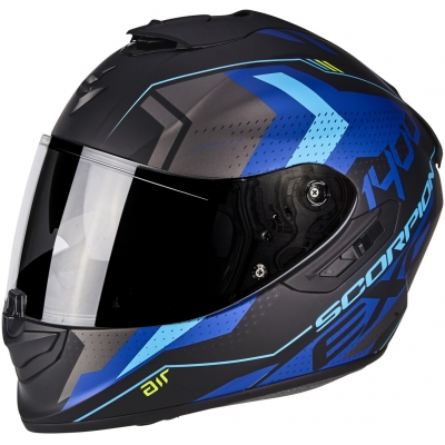 Prilba Scorpion EXO-1400 AIR Trika čierno-modrá, na motorku