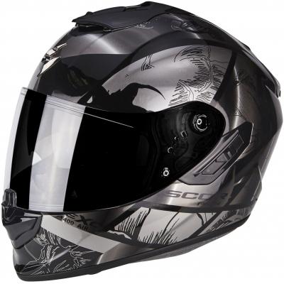 Prilba Scorpion EXO-1400 AIR Patch čierno-strieborná, na motorku