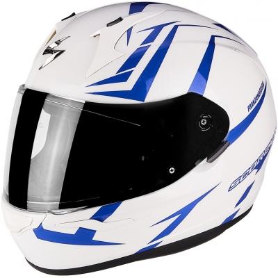 Prilba Scorpion EXO-390 Hawk bielo-modrá, na motorku