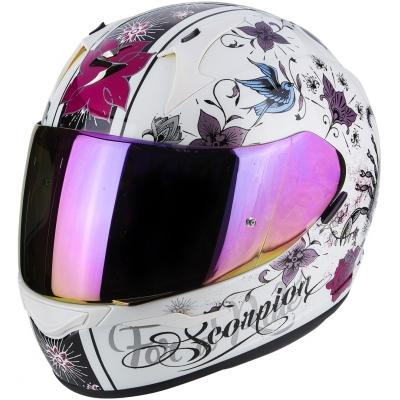 Prilba Scorpion EXO-390 Chica bielo-ružová, na motorku