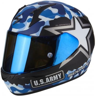 Prilba Scorpion EXO-390 Army čierno-sivo-modrá, na motorku