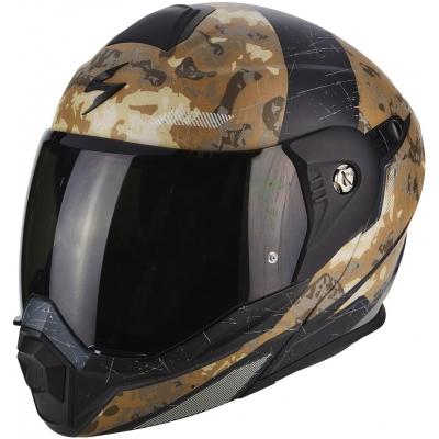 Prilba Scorpion ADX-1 Battleflage piesková sivá, na motorku