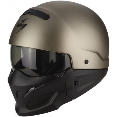 Prilba Scorpion EXO-Combat Solid strieborná-titánova, na motorku