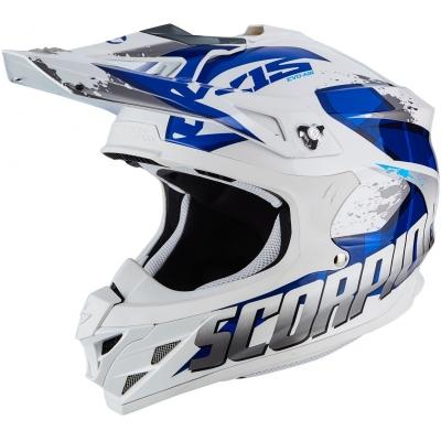 Prilba Scorpion VX-15 EVO AIR Defender bielo-modrá, na motorku