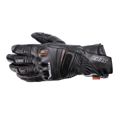 Kožené rukavice SECA Turismo III D3O čierne, na motorku