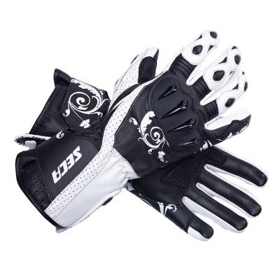 Kožené rukavice SECA Xena Lady čierno-biele, na motorku