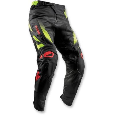 Nohavice Thor Fuse Rampant 2018 čierno-červeno-limetkový, na motorku
