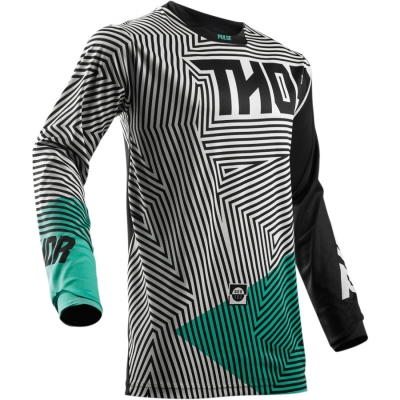Detský dres Thor Pulse Geotec 2018 čierno-tyrkysový, na motorku